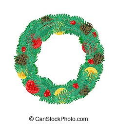 Christmas Wreath with pine cones ve - Christmas Wreath with...