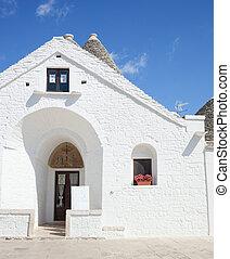 Sovereign trullo in Alberobello, Puglia in Italy.