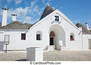 Sovereign trullo in Alberobello, Puglia in Italy.