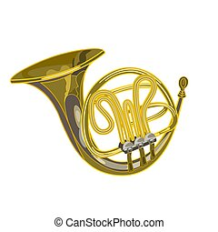 French horn vector woodwind musical instrument vector...
