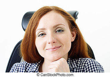 Cute woman in the chair