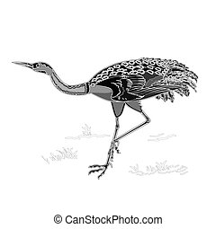 Dancing crane wildlife bird engravi - Dancing crane wildlife...