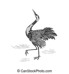 Dancing crane engraving vector - Dancing crane wildlife...