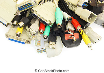Computer Plugs. - Bunch of Computer Cables with Sockets on...