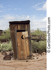 Outhouse In the Arizona Desert - Outhouse at Goldfield Gold...