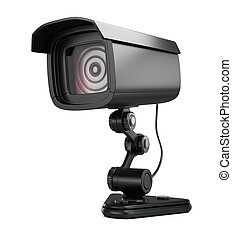 Security camera isolated on white background. 3d render