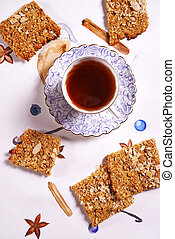 oatflakes biscuits and cup of tea - healthy sugarfree...