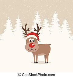 red nose reindeer santa hat winter background