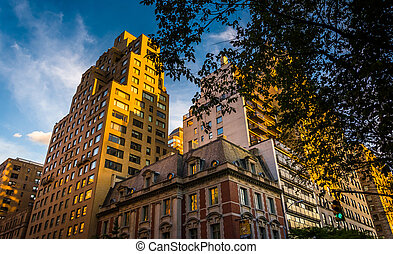 Evening light on old buildings in Upper East Side,...