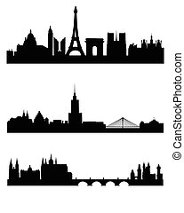 Three capitals silhouettes - Vector illustration of a three...