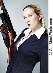 Girl and tommy gun