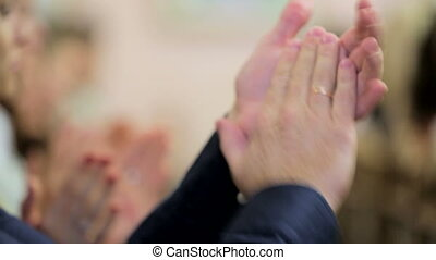 Mans Applause At the Wedding - Close-up shot of human hands...