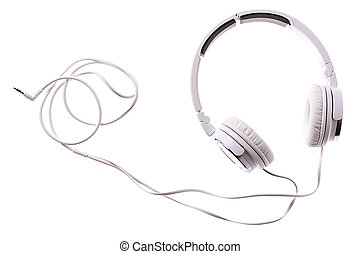 White Headphones Isolated on White Background