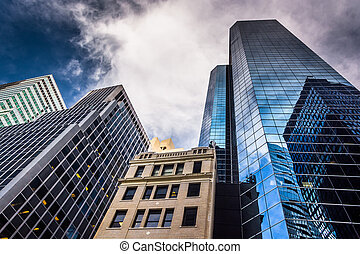 Skyscrapers in Lower Manhattan, New York. - Skyscrapers in...