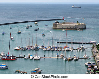 Harbor of Salvador de Bahia - View onto the Harbor of...