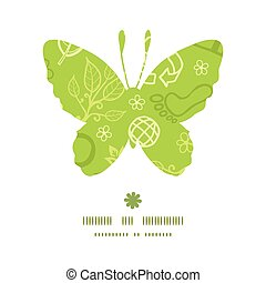 Vector environmental butterfly silhouette pattern frame...
