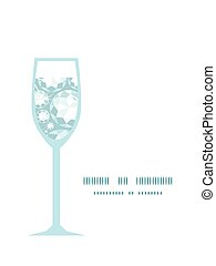 Vector shiny diamonds wine glass silhouette pattern frame...