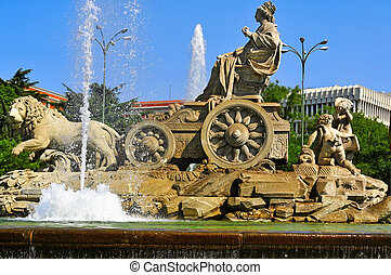 Cibeles Fountain in Madrid, Spain - view of the popular...