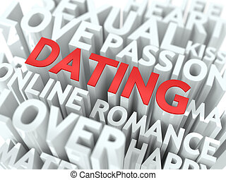 Dating - Red Word Cloud Concept. - Dating - Red Word on...