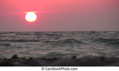 red sea sunset - Red sunset on sea