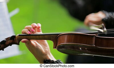 Woman is Playing the Violon - Two frames. Footage of one...
