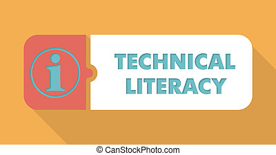 Technical Literacy on Blue Background in Flat Design.