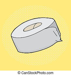 Duct Tape - Hand drawn cartoon duct tape roll over yellow