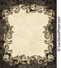 Ornate Engraved Baroque Frame - Pen drawing of an ornate...