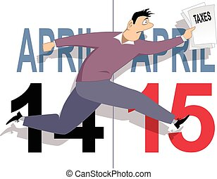 Tax day in USA - Worried cartoon man running with a tax...