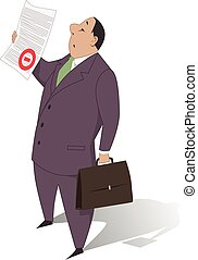 Bureaucracy - A man in business suit holding a document with...