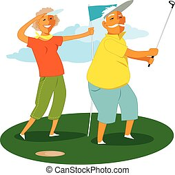 Senior couple playing golf - Cartoon man in his 60s doing a...