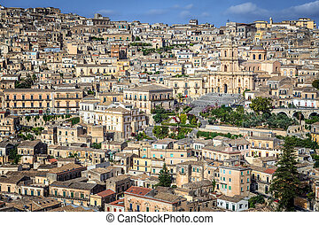 Elevated View of City of Modica - Elevated View of Buildings...