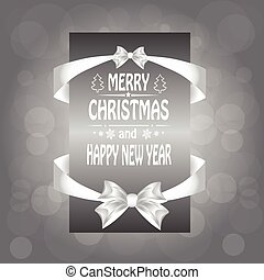 Christmas card with a  a bow,and ribbon. vector