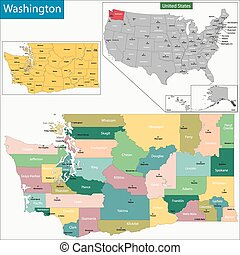 Washington map - Map of Washington state designed in...