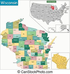 Wisconsin map - Map of Wisconsin state designed in...