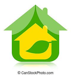 Eco house with green leaf, environmentally friendly concept
