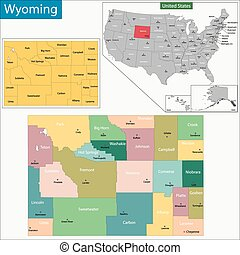 Wyoming map - Map of Wyoming state designed in illustration...