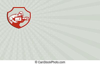 Business card Cameraman Film Crew Camera Shield Retro