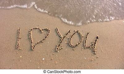 I love you word on beach - I love you - word on beach