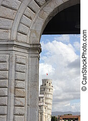 Pisa Leaning tower - Pisa, Italy: Arched door for Piazza dei...