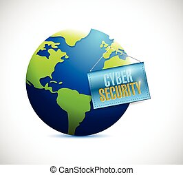 cyber security globe and banner illustration design over a...
