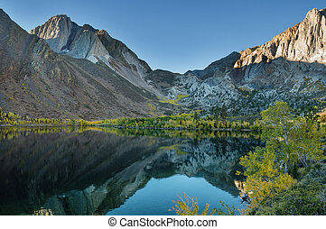 Autumn Mountain Lake - Convict Lake in the autumn with...