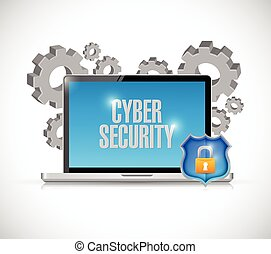 cyber security computer gears and shield. illustration...