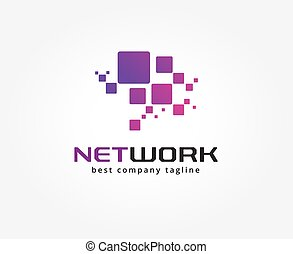 Abstract network vector logo icon concept. Logotype template...