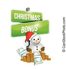 christmas bonus sign and snowman illustration design over a...