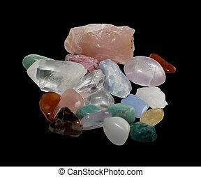 Semi-precious gemstones in a glittering rich centered heap....