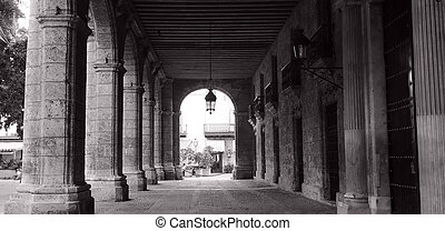 Building corridor in Havana - Black and white picture of...
