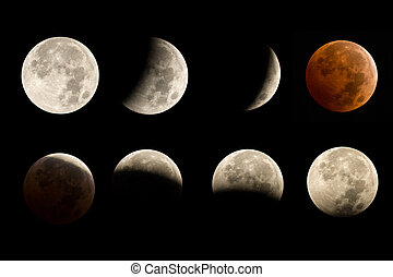 Lunar Eclipse Sequence - lunar eclipse sequence including...