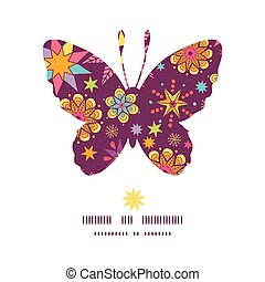 Vector colorful stars butterfly silhouette pattern frame...