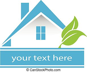 Vector blue house leafs logo card - Vector house leafs logo...